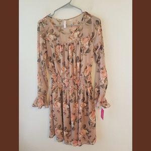 Xhilaration NWT Floral Mauve LS Dress Sz XS